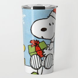 snoopy and woodstock christmas in home Travel Mug