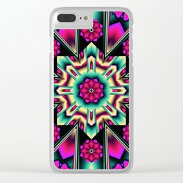 Starry kaleidpscope with fantasy flowers Clear iPhone Case