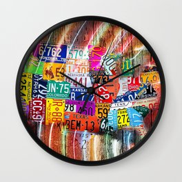 License Plate Map of United States Lights Wall Clock