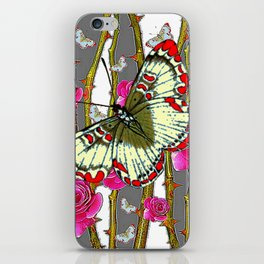 ORIENTAL STYLE BUTTERFLY & PINK ROSES GREY PATTERN DESIGN iPhone Skin