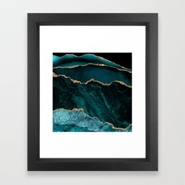 Teal Blue Emerald Marble Landscapes Framed Art Print