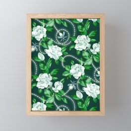 Midnight Sparkles - Gardenias and Fireflies in Emerald Green Framed Mini Art Print