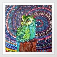 Ocean Owl of Swirls Art Print