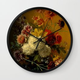 """George Jacobus Johannes van Os """"Still Life with Flowers"""" Wall Clock"""
