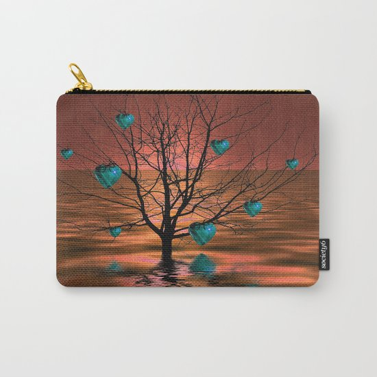 Magical Turquoise Heart Tree Carry-All Pouch
