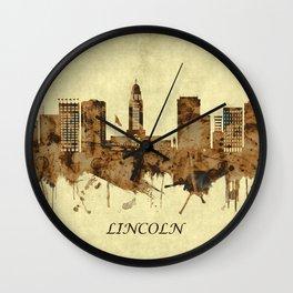 Lincoln Nebraska Cityscape Wall Clock