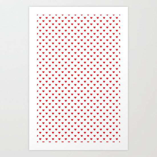Red hearts Art Print