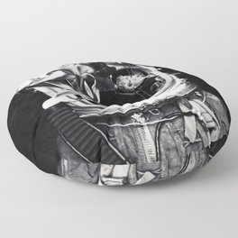Astronauts and flowers Floor Pillow