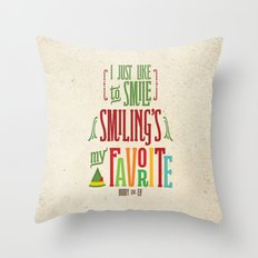 Buddy the Elf! Smiling's My Favorite! Throw Pillow