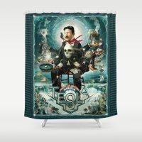 tesla Shower Curtains featuring Nikola Tesla Master of Lightning by Jeff Drew Pictures