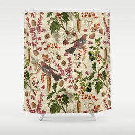Vintage Birds Botanical Christmas Pattern Shower Curtain