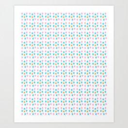 stars 5-multicolor stars,stars,yellow,night,sky,light dark,kitsch,rays,hope,pointed Art Print