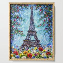 Handmade painting Spring Eiffel Tower Paris in Flowers Original art for Sale. Artist Valery Rybakow Serving Tray