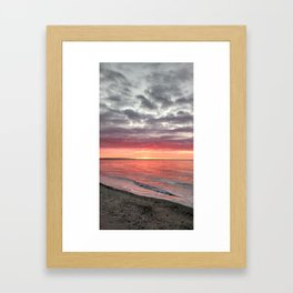 Powerful Red and Gray Sunrise at Seaside Park Framed Art Print