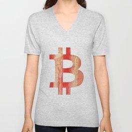 Bitcoin Burnt sienna watercolor Unisex V-Neck
