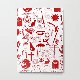 Buffy Symbology, Red Metal Print