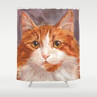 pumpkin Shower Curtains featuring Pumpkin by sirgreensock