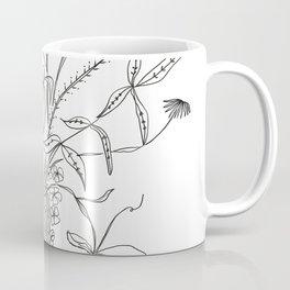 Line Bouquet   Botanical Flowers   Black and White Art Coffee Mug