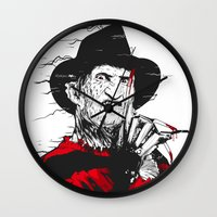 freddy krueger Wall Clocks featuring Freddy by Akyanyme