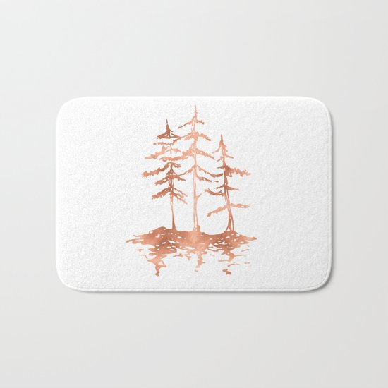 Three Sisters Trees Rose Gold on White Bath Mat