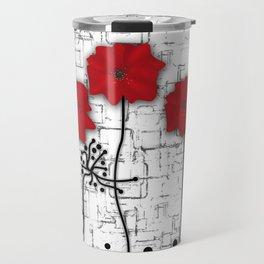 Poppies red n white background . Travel Mug