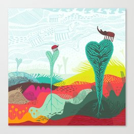 Colourful landscape with young plants, insects and birds Canvas Print