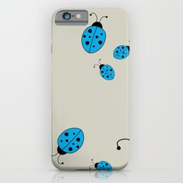 Ladybugs-Beige+Blue iPhone Case