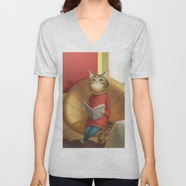 A cat reading a book Unisex V-Neck