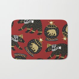 Funky Black Bear Gold White Winter Pattern Bath Mat