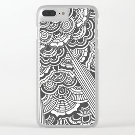 Grey floral mandala design - hydrangeas Clear iPhone Case