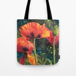 Poppies At Twilight Watercolor Reproduction Painting Tote Bag