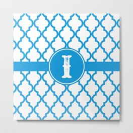 Blue Monogram: Letter I Metal Print