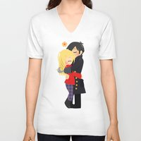 captain hook V-neck T-shirts featuring OUAT - Hook and Emma by Choco-Minto