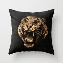 Vintage Tiger in black Throw Pillow