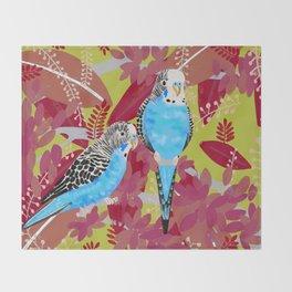 Blue Parakeets Throw Blanket