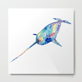 Narwhal watercolor painting print art whale animal illustration sea narwhale life mammal nautical ocean wall poster decor modern Metal Print