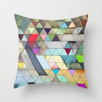 triangles Throw Pillows featuring Triangles  by Jason Michael