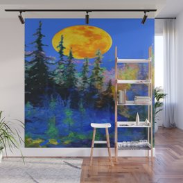 FULL MOON OVER BLUE MOUNTAIN FOREST DESIGN Wall Mural