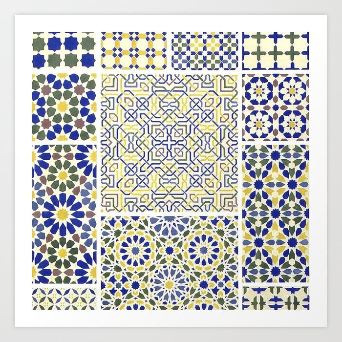 Middle Eastern Tile Patterns In Blue And Yellow Art Print By Yaklab Cool Middle Eastern Patterns