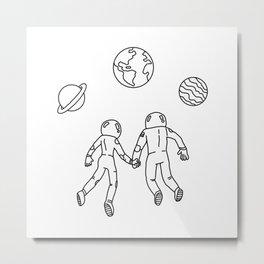 Astronaut Couple Metal Print