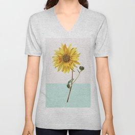 Sunflower Mid Century Modern Retro Botanical Yellow Flower Vintage Unisex V-Neck