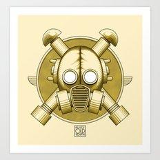 Art Deco Gasmask Crossbones Art Print