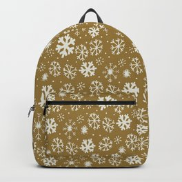 Snowflake Snowstorm With Golden Background Backpack