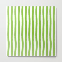 Green and White Palm Beach Preppy Cabana Stripes Metal Print