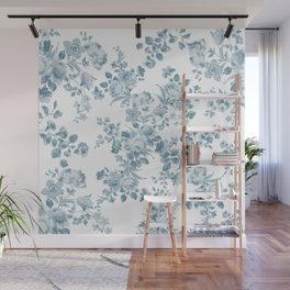 Vintage blue white bohemian elegant floral Wall Mural