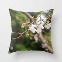 sakura Throw Pillows featuring sakura by artsimo