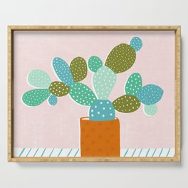 modern cacti Serving Tray