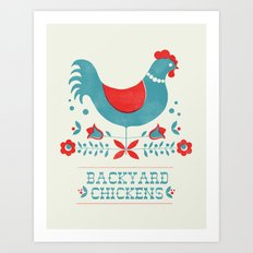 Backyard Chickens in red Art Print