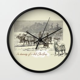 Nothern winter scene with Dogs and Reindeers team Wall Clock