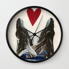 Whales in Love Wall Clock